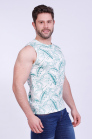 Imagem - Regata Malha Masculina Estampada Tropical