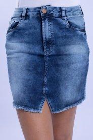 Imagem - Saia Jeans Feminina Com Recorte e Barra Desfiada