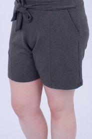 Imagem - Shorts Moletinho Feminino Plus Size Com Cinto e Bolsos