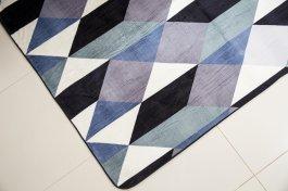 Imagem - Tapete Flannel 200x140 Azul Geométrico