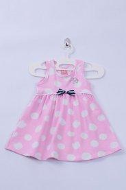 Imagem - Vestido Cotton Bebê Poa Com Bolinhas Brancas e Fundo
