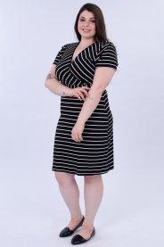 Imagem - Vestido Feminino Listrado Decote V Cruzado