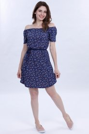 Imagem - Vestido Feminino Manga Curta Ombro a Ombro Ciganinha Estampado Floral Azul