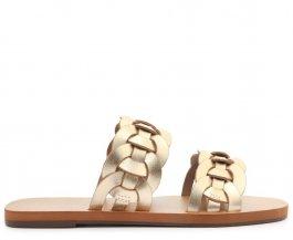 Imagem -  Rasteira Anacapri Dourada Trançada Couro Bella