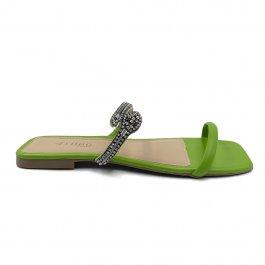 Imagem - Rasteira Aflora Shoes Bico Quadrado Verde