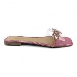 Imagem - Rasteira Aflora Shoes Vinil Pedraria Bico Quadrado Rosa Metálico