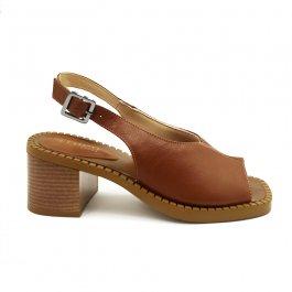 Imagem - Sandália Aflora Shoes Salto Bloco Couro Marrom