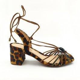 Imagem - Sandália Aflora Shoes Salto Bloco Tiras Animal Print Onça