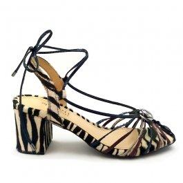 Imagem - Sandália Aflora Shoes Salto Bloco Tiras Animal Print Zebra