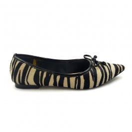 Imagem - Sapatilha Aflora Shoes Bico Fino Couro Animal Print Zebra