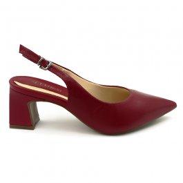 Imagem - Sapato Scarpin Aflora Shoes Sling Back Salto Bloco Couro Vermelho