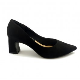 Imagem - Scarpin Aflora Shoes Salto Bloco Couro Nobuck Preto