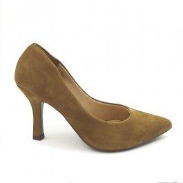 Imagem - Scarpin Aflora Shoes Salto Fino Couro Nobuck Bege