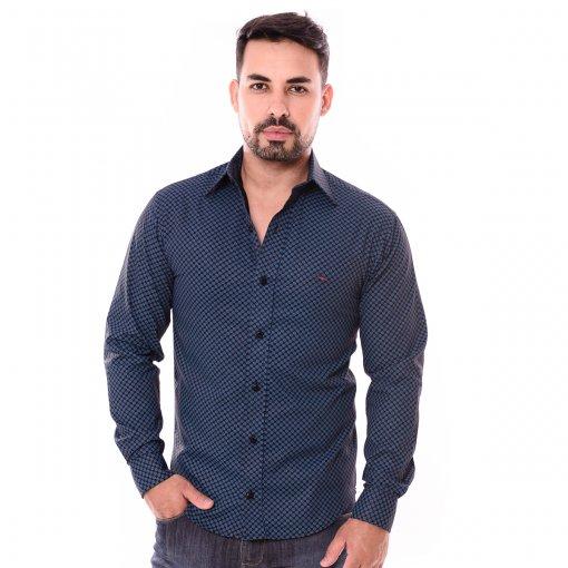 Camisa Slim Manga Longa Azul Estampado