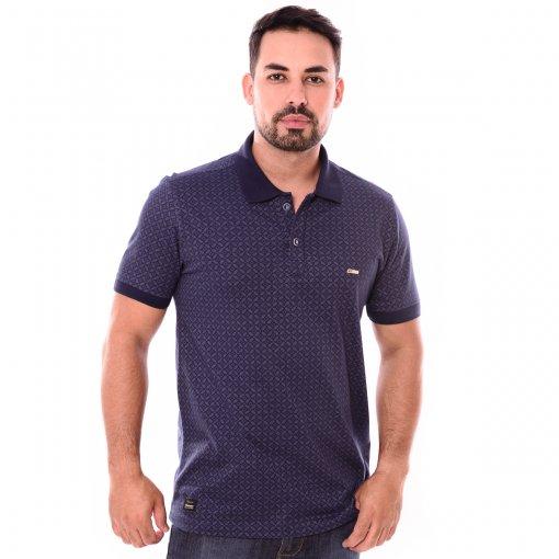 Camiseta Gola Polo Azul Marinho Estampado