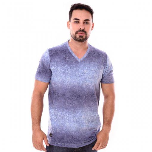 Camiseta Gola V Azul Estampado