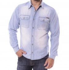 Imagem - Camisa Jeans Slim Manga Longa Canatiba Estampado cód: 003