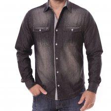 Imagem - Camisa Jeans Slim Manga Longa Collin Black Listrada cód: 005