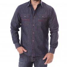 Imagem - Camisa Jeans Slim Manga Longa Collin Blue cód: 006