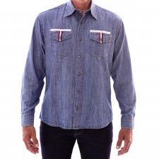 Imagem - Camisa Jeans Slim Manga Longa Collin Blue detalhe bolso cód: 007