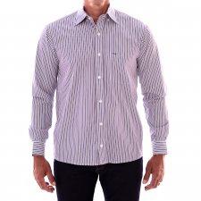 Imagem - Camisa Tradicional Manga Longa Branca Listrada Azul e Branco cód: 033