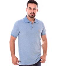 Imagem - Camiseta Gola Polo Azul Claro Estampado cód: 104
