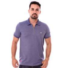 Imagem - Camiseta Gola Polo Azul Escuro Com Detalhe cód: 103