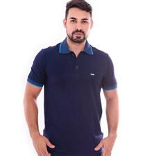 Imagem - Camiseta Gola Polo Azul Trabalhado cód: 089