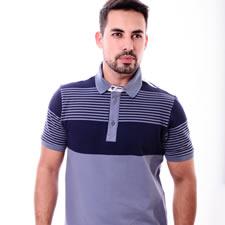 Imagem - Camiseta Gola Polo Listrada Branca e Azul Marinho cód: 010