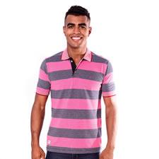 Imagem - Camiseta Gola Polo Listrada Preta com Rosa cód: 066