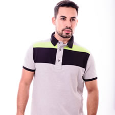 Imagem - Camiseta Gola Polo Listrada Preta com Verde Limão cód: 011