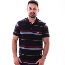Imagem - Camiseta Gola Polo Listrada Preta com Vinho cód: 077
