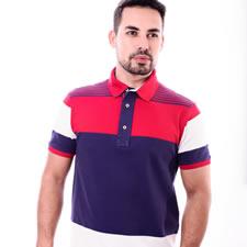 Imagem - Camiseta Gola Polo Listrada Vermelha com Azul cód: 012