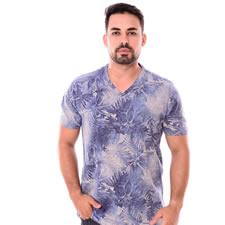 Imagem - Camiseta Gola V Azul Com Cinza Estampado cód: 099