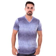 Imagem - Camiseta Gola V Azul Estampado cód: 100
