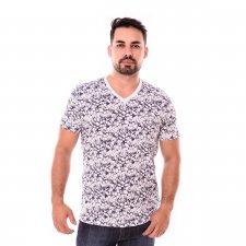Imagem - Camiseta Gola V Branca Estampada cód: 098