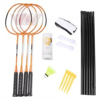 Imagem - Kit Vollo Badminton 4 Raquetes 3 Petecas 1 Rede - VB004-406-249