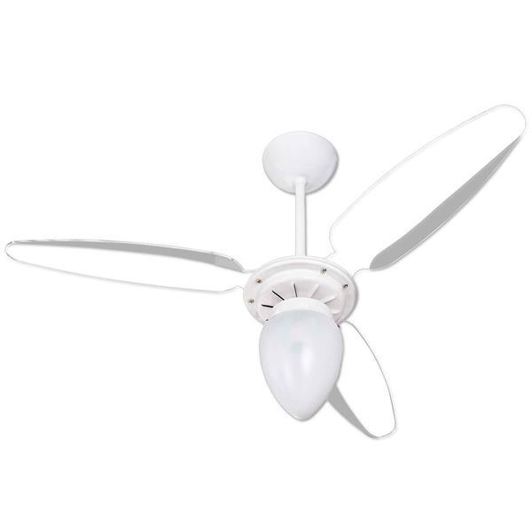 Ventilador de Teto Wind, 3 Pás Branco e Transparente para 1 Lâmpada Ventisol