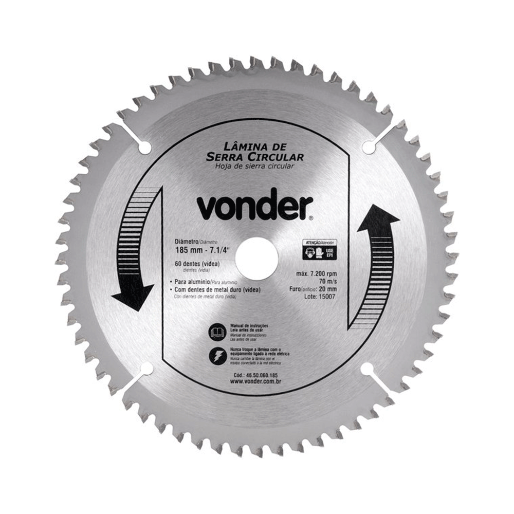 Imagem - Lâmina de Serra Circular P/ Alumínio 185mm 60 Dentes Furo 20mm Vonder - 10857