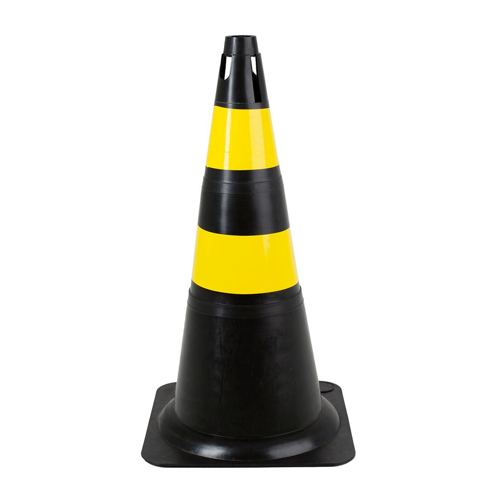 Imagem - Cone Plástico Preto e Amarelo 50cm Deltaplus - 6292