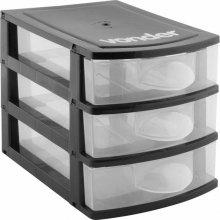 Imagem - Organizador plástico mini 3 gavetas preto e transparente - Vonder - 6107001003