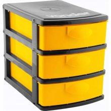 Imagem - Organizador plástico 3 gavetas preto e amarelo  - Vonder - 6107001006