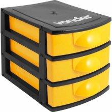 Imagem - Organizador plástico mini 3 gavetas preto e amarelo - Vonder - 6107001030