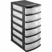 Imagem - Organizador plástico 6 gavetas preto e transparente - Vonder - 6107001060