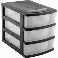 Imagem - Organizador plástico 3 gavetas preto e transparente - Vonder - 6107001300