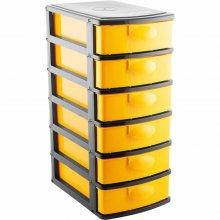 Imagem - Organizador plástico 6 gavetas preto e amarelo - Vonder - 6107001600