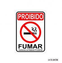 Imagem - Placa Sinalização Proibido Fumar 15x20cm - Pacific - 6796