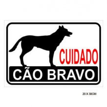 Imagem - Placa Sinalização Cuidado Cão Bravo 20x30cm - Pacific - 6801
