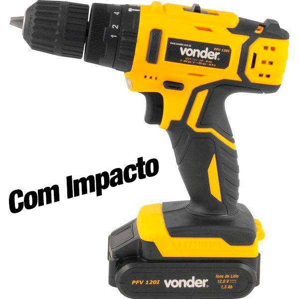 Imagem - Parafusadeira / Furadeira com Impacto a Bateria, 12 V, Carregador Bivolt Automático, PFV 120I Vonder - 10922