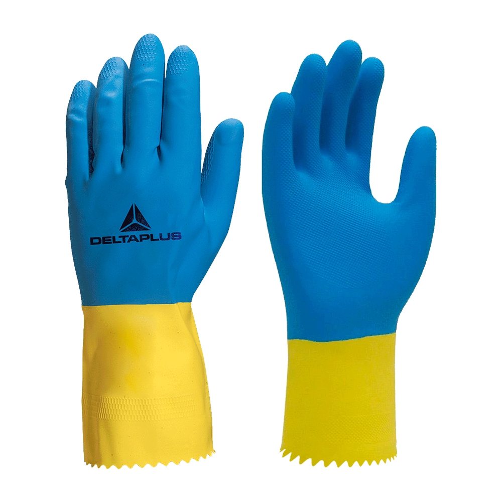 "Luva Neoprene Azul/Amarelo Tamanho 8"" Deltaplus"
